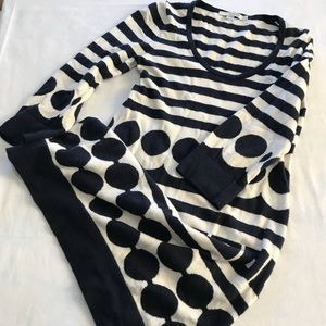 BODEN Tunic Sweater Dress Navy White Geometric US4